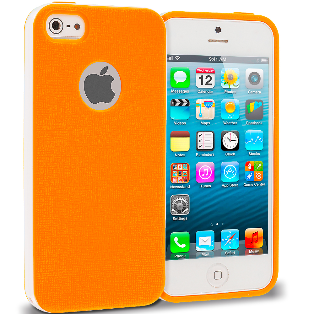 Apple iPhone 5/5S/SE Combo Pack : Pink Hybrid TPU Bumper Case Cover : Color Orange