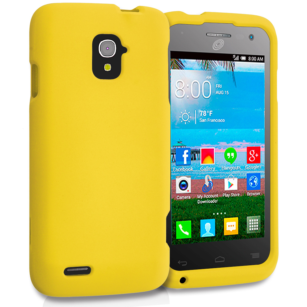 Alcatel One Touch Pop Star A845L Yellow Hard Rubberized Case Cover