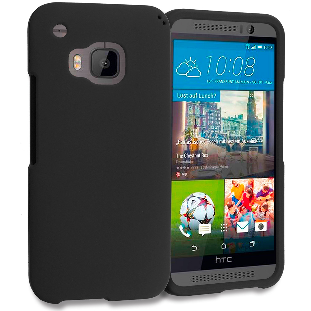 HTC One M9 Black Hard Rubberized Case Cover