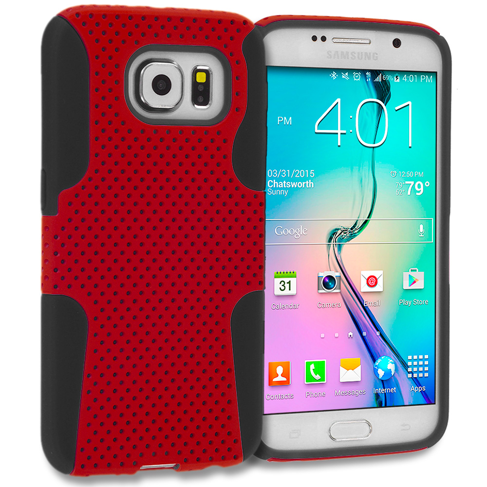 Samsung Galaxy S6 Combo Pack : Black / Blue Hybrid Mesh Hard/Soft Case Cover : Color Black / Red
