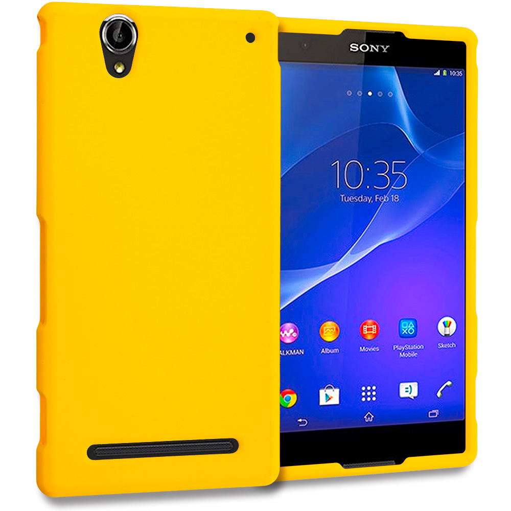 Sony Xperia T2 Ultra D5303 Yellow Hard Rubberized Case Cover