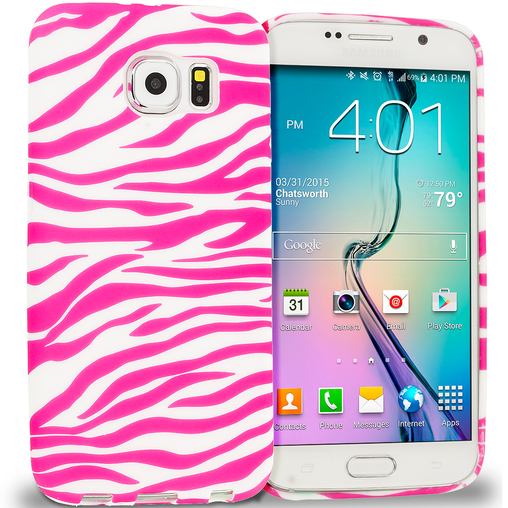 Samsung Galaxy S6 Combo Pack : Black / Hot Pink Zebra TPU Design Soft Rubber Case Cover : Color Pink / White Zebra