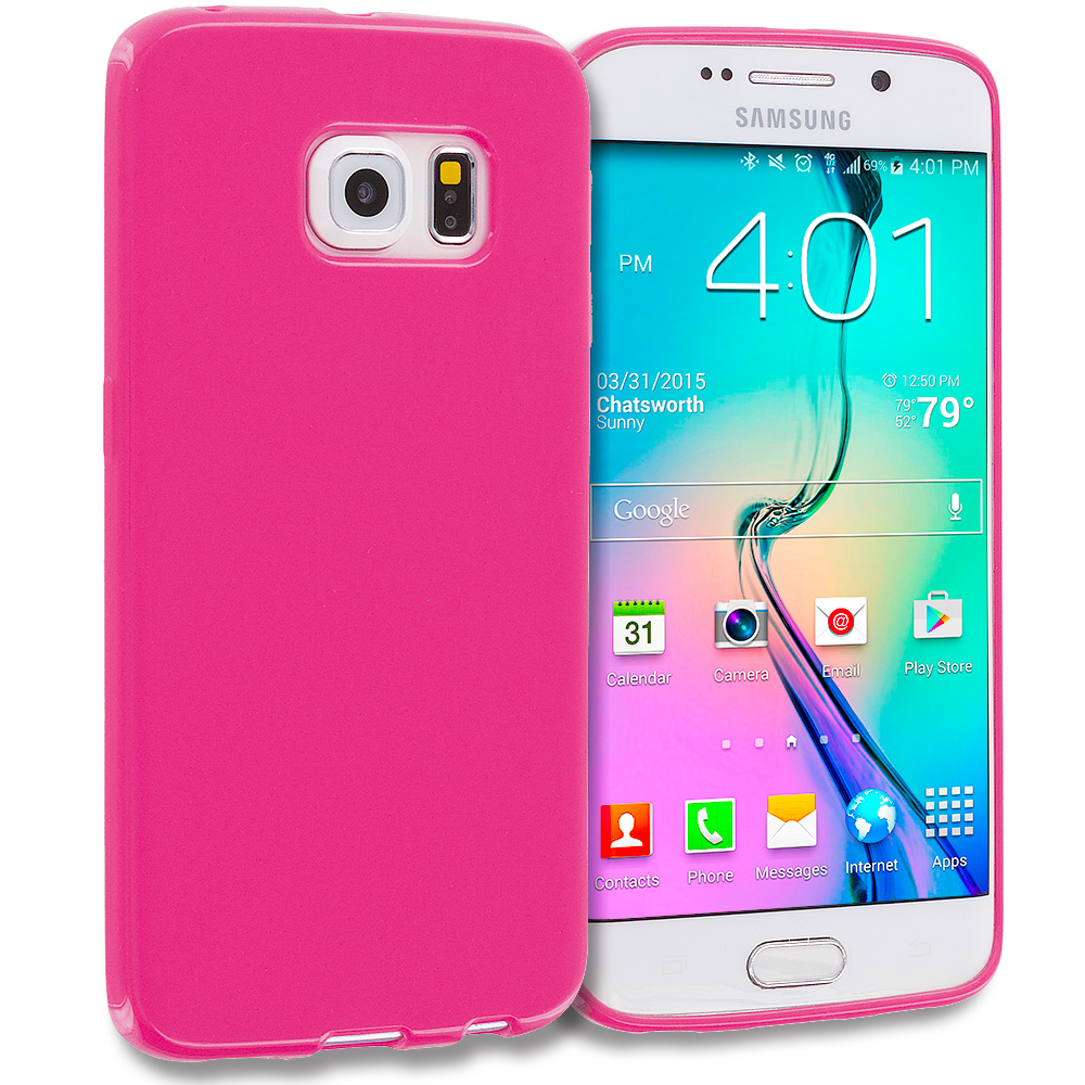 Samsung Galaxy S6 Edge Light Pink Solid TPU Rubber Skin Case Cover