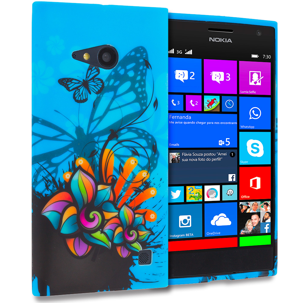 Nokia Lumia 730 735 Blue Butterfly Flower TPU Design Soft Rubber Case Cover