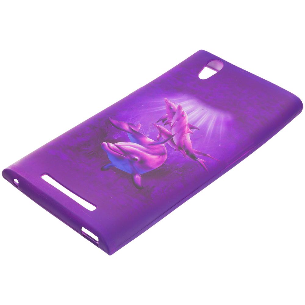 ZTE Zmax Purple Dolphin TPU Design Soft Rubber Case Cover
