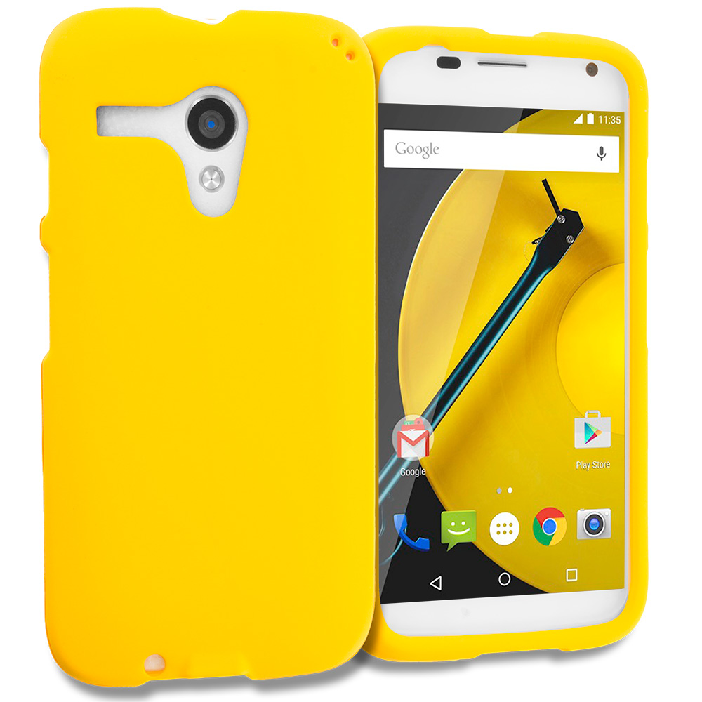 Motorola Moto E LTE 2nd Generation Yellow Hard Rubberized Case Cover