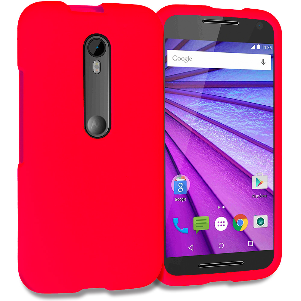 Motorola Moto G 3rd Gen 2015 Red Hard Rubberized Case Cover