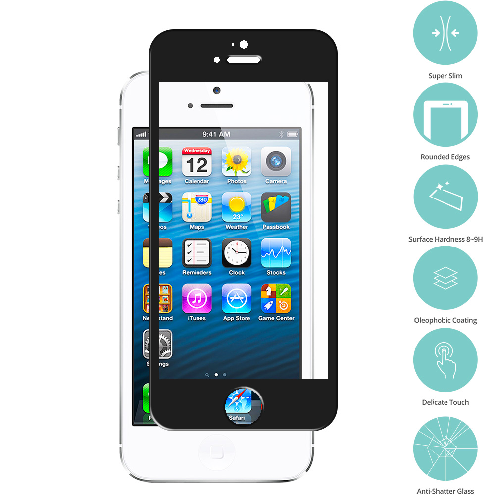 Apple iPhone 5 / 5S / 5C Black Tempered Glass Film Screen Protector Colored