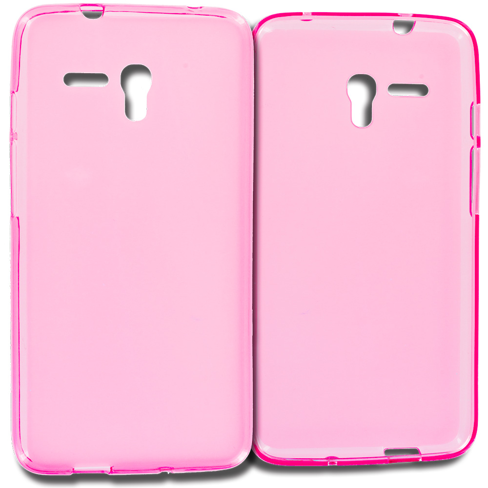 Alcatel OneTouch Fierce XL Hot Pink TPU Rubber Skin Case Cover