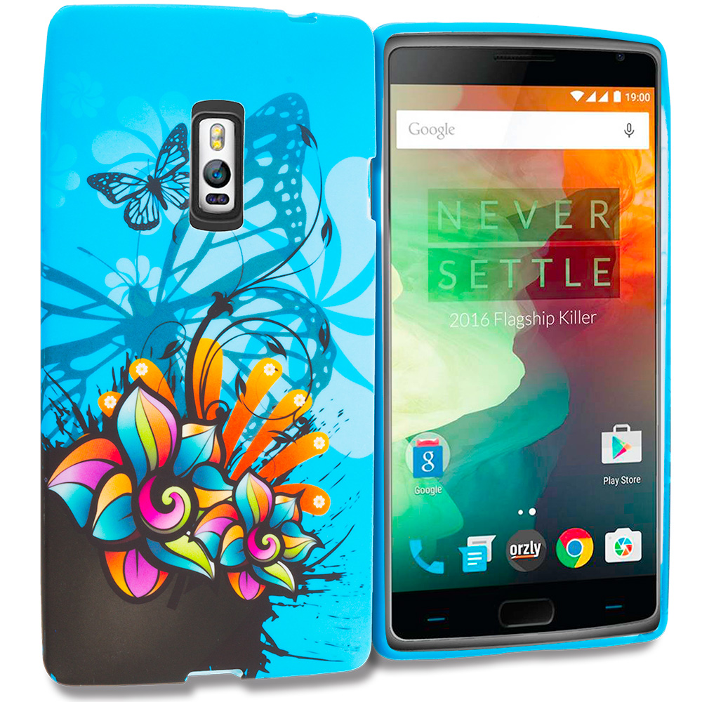 OnePlus 2 Two Blue Butterfly Flower TPU Design Soft Rubber Case Cover