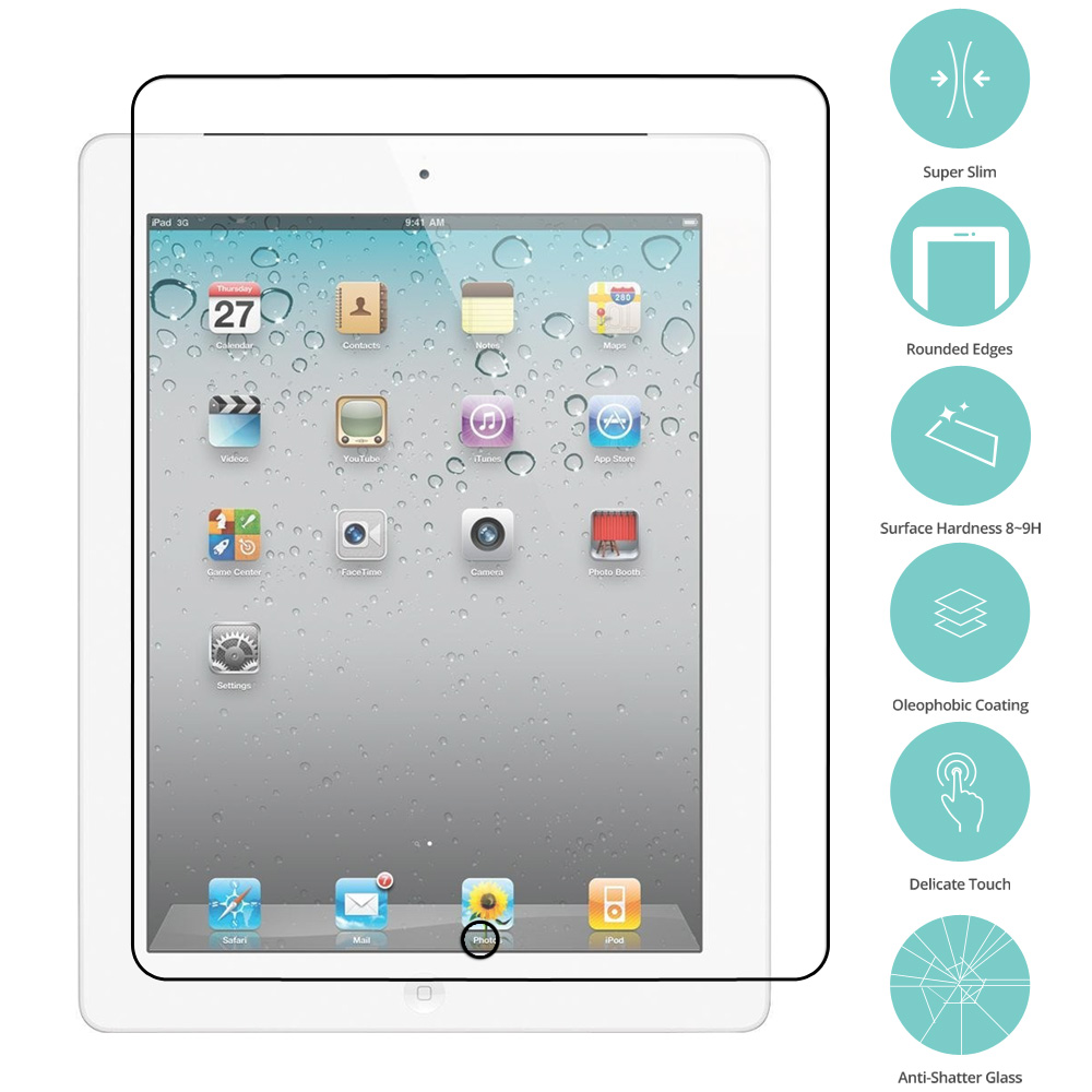 Apple iPad 4th 3rd 2nd Gen Clear Tempered Glass Film Screen Protector Clear