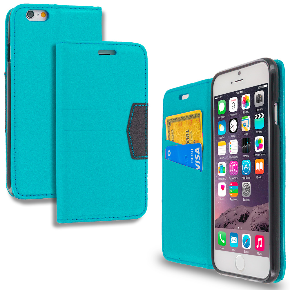 Apple iPhone 6 6S (4.7) Baby Blue Wallet Flip Leather Pouch Case Cover with ID Card Slots