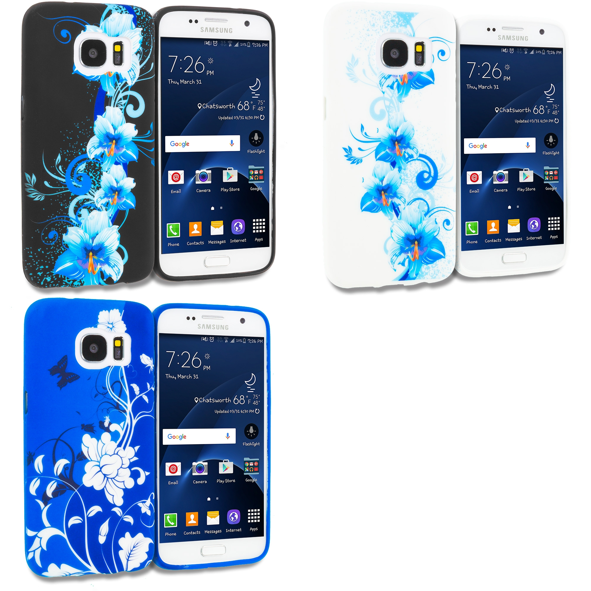 Samsung Galaxy S7 Combo Pack : Blue Flowers TPU Design Soft Rubber Case Cover
