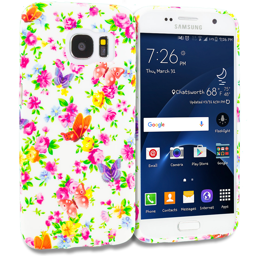 Samsung Galaxy S7 Combo Pack : Butterfly Colorful TPU Design Soft Rubber Case Cover : Color Colorful Flower