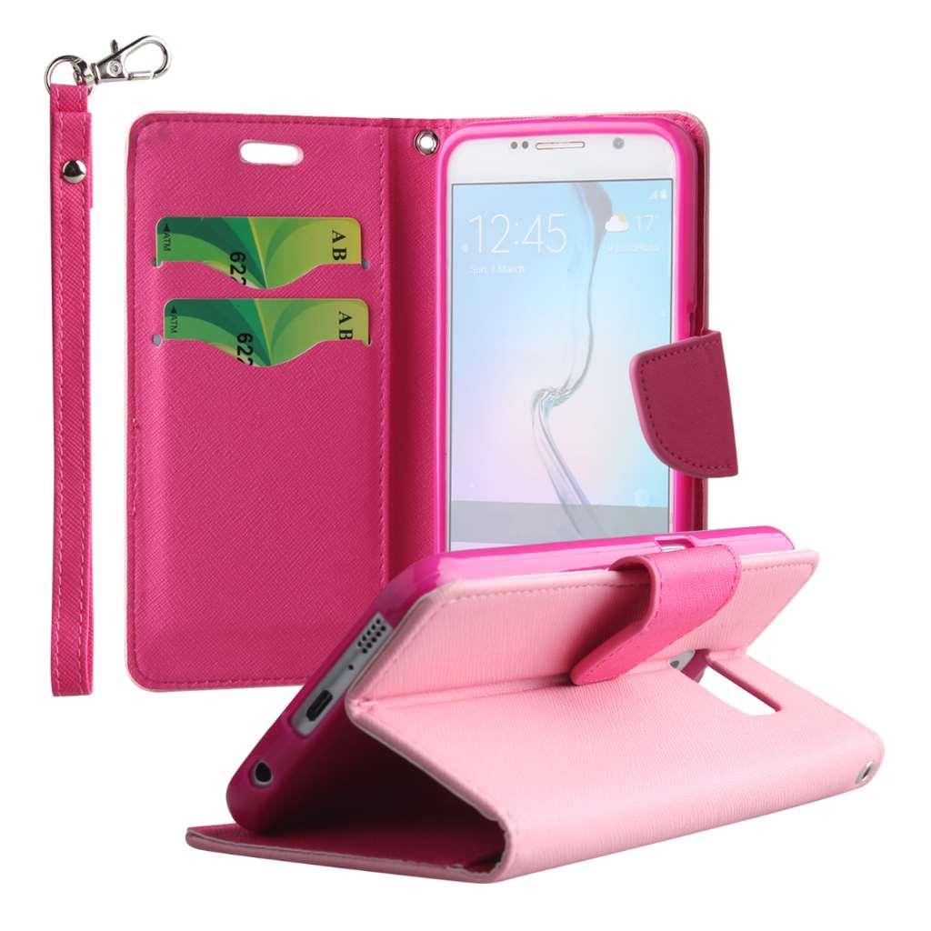 Samsung Galaxy S6 - Pink MPERO FLEX FLIP 2 Wallet Stand Case Cover