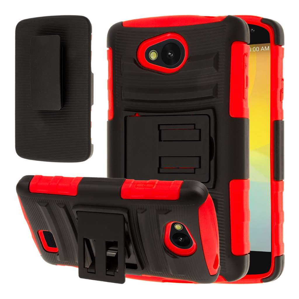 LG F60 - Red MPERO IMPACT XT - Kickstand Case Cover