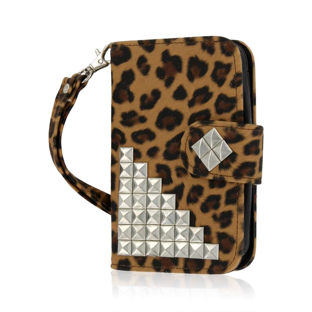 LG Optimus Dynamic 2 - Studded Leopard MPERO FLEX FLIP Wallet Case Cover
