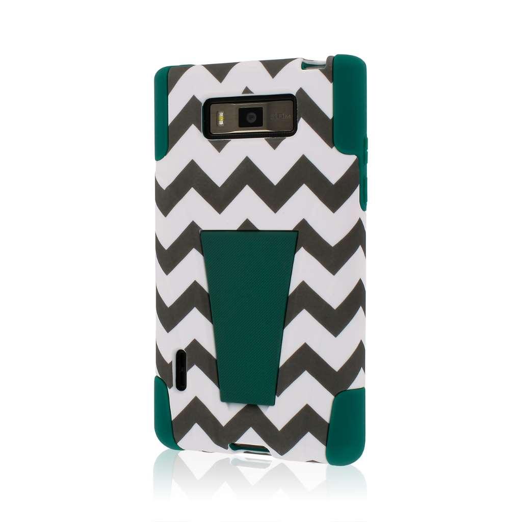 LG Splendor / Venice - Teal Chevron MPERO IMPACT X - Kickstand Case Cover