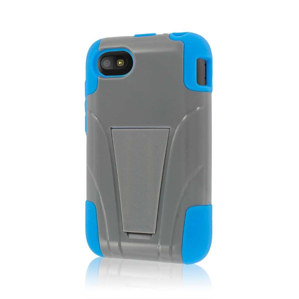 Blackberry Q5 - BLUE/ GRAY MPERO IMPACT X - Kickstand Case Cover
