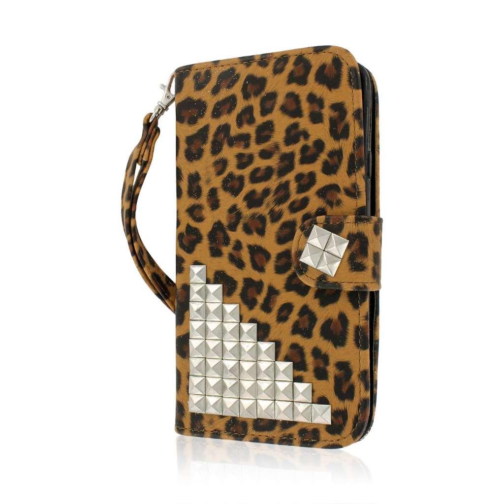 Samsung Galaxy Mega 5.8 - Studded Leopard MPERO FLEX FLIP Wallet Case Cover
