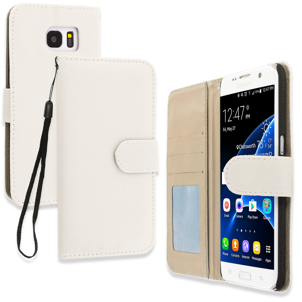 Samsung Galaxy S7 Edge White Leather Wallet Pouch Case Cover with Slots