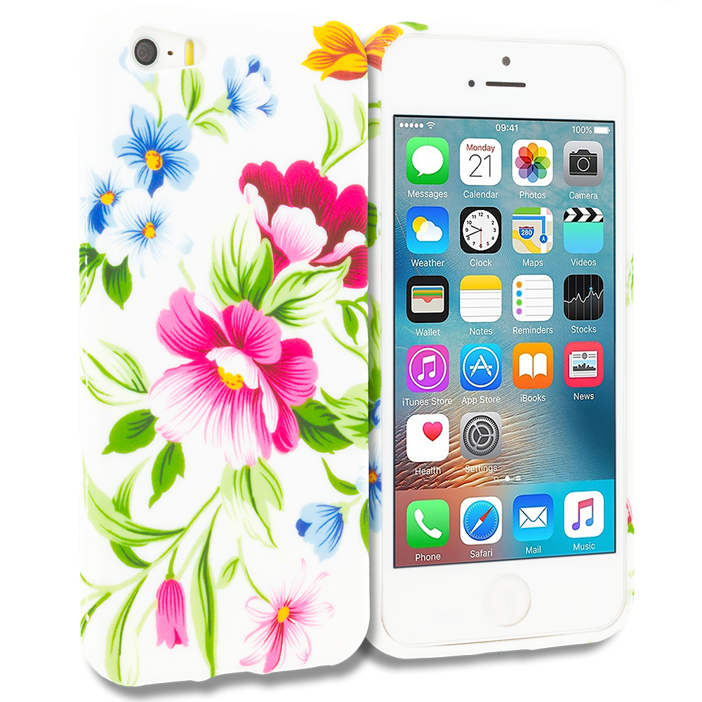 Apple iPhone 5/5S/SE Flower Painting TPU Design Soft Rubber Case Cover