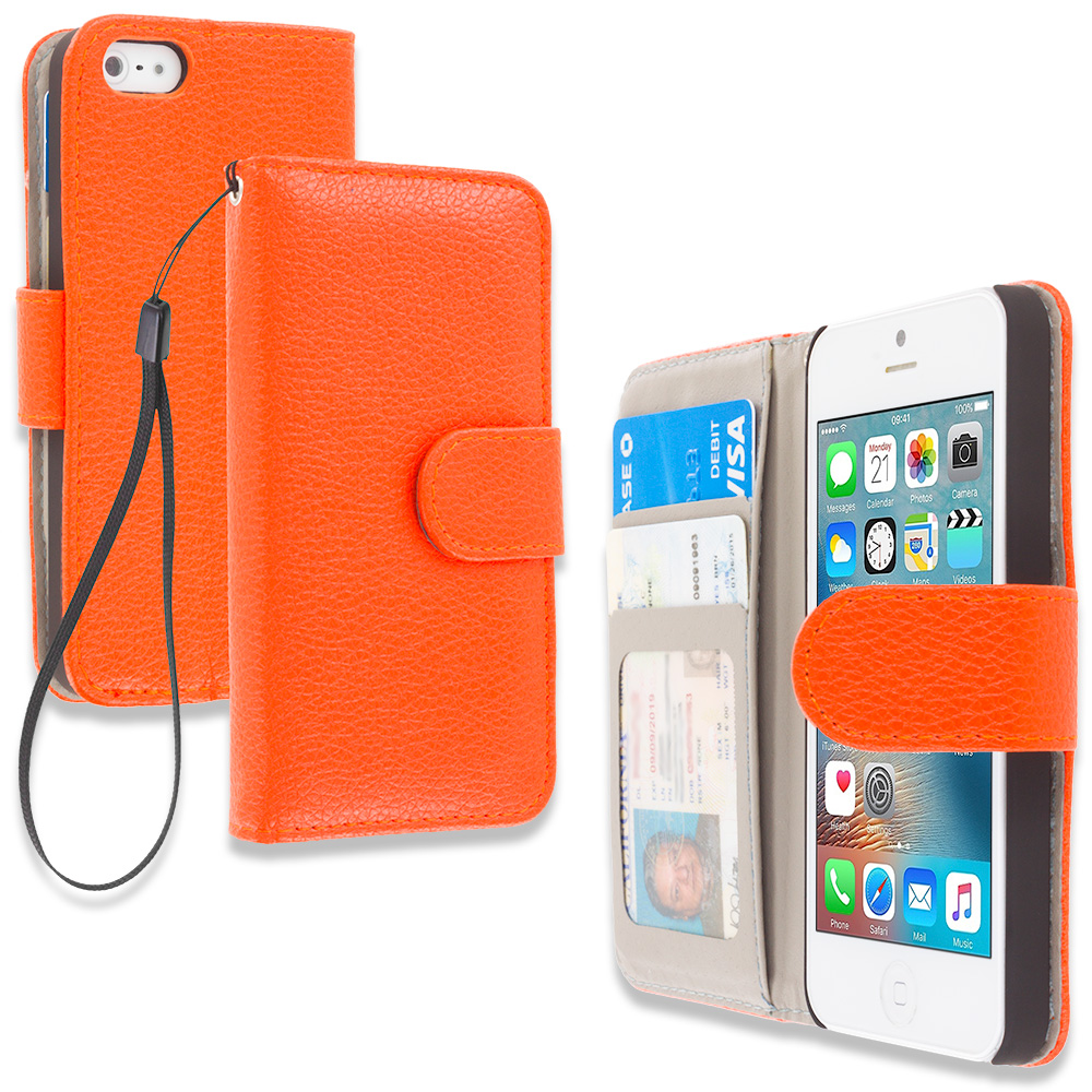 Apple iPhone 5/5S/SE Combo Pack : Brown Leather Wallet Pouch Case Cover with Slots : Color Orange