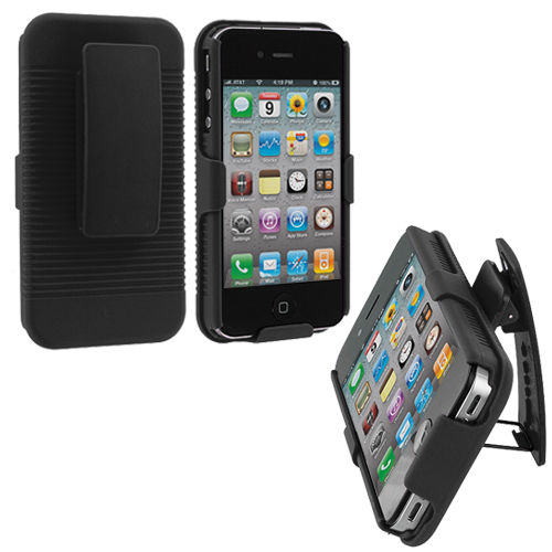 Apple iPhone 4 Black Hard Rubberized Belt Clip Holster Case Cover