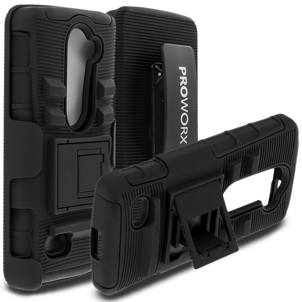 LG Tribute 2 Leon Power Destiny ProWorx Black Heavy Duty Shock Absorption Armor Defender Case Cover With Belt Clip Holster
