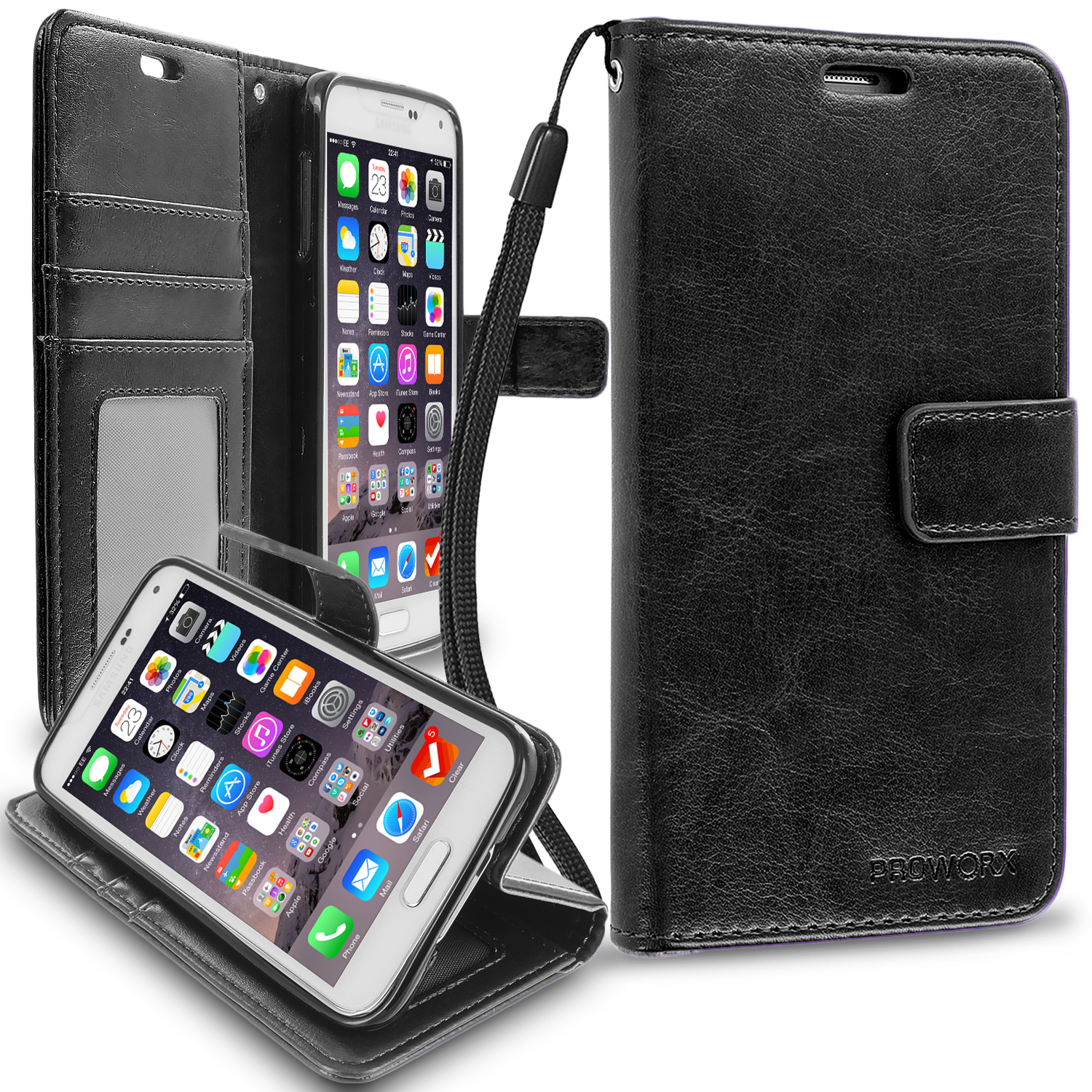 Samsung Galaxy S5 Black ProWorx Wallet Case Luxury PU Leather Case Cover With Card Slots & Stand
