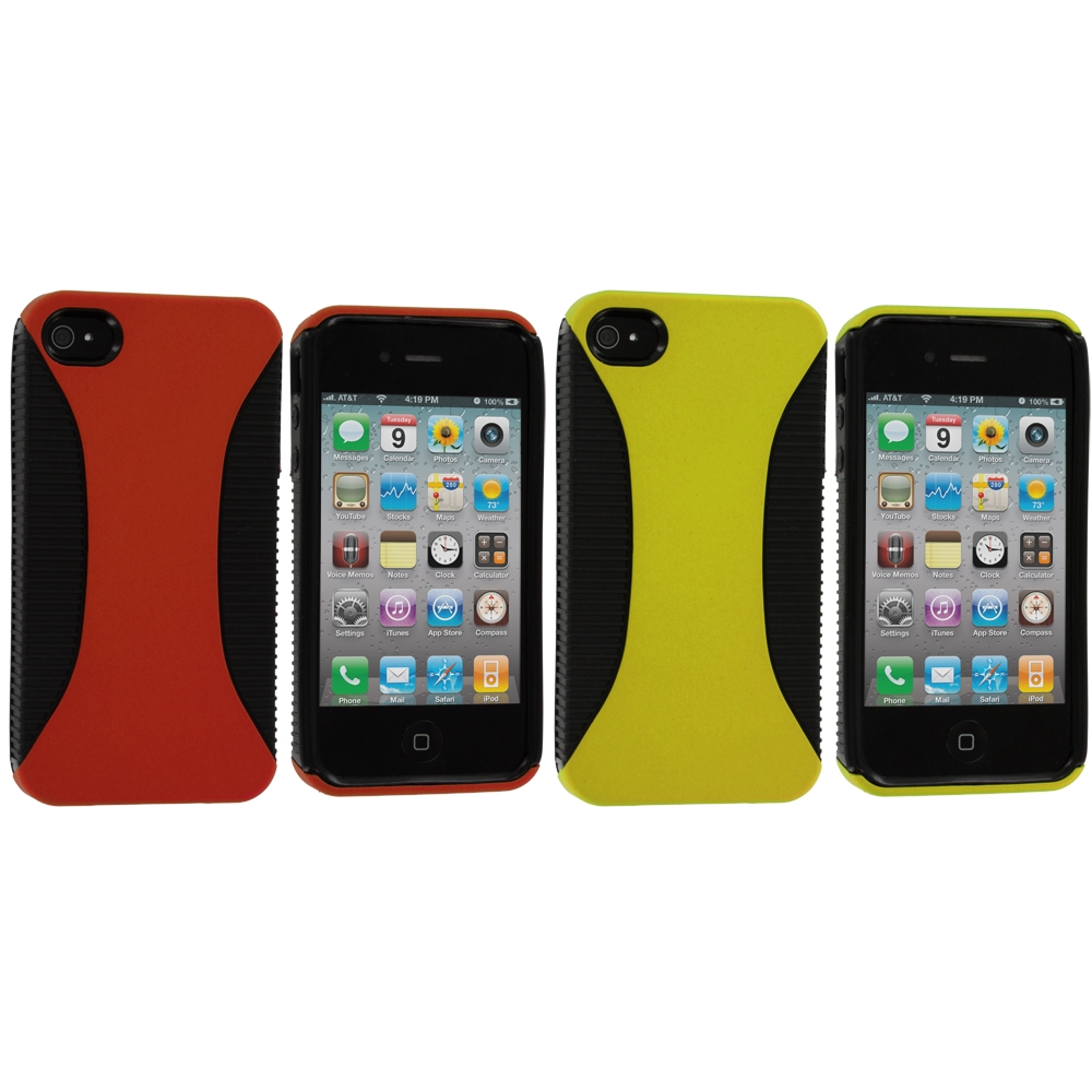 Apple iPhone 4 / 4S 2 in 1 Combo Bundle Pack - Yellow / Orange Hybrid Hard/TPU Case Cover