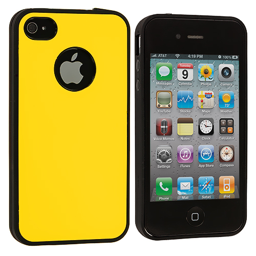 Apple iPhone 4 Yellow TPU Hard Hybrid TPU Bumper Case Cover
