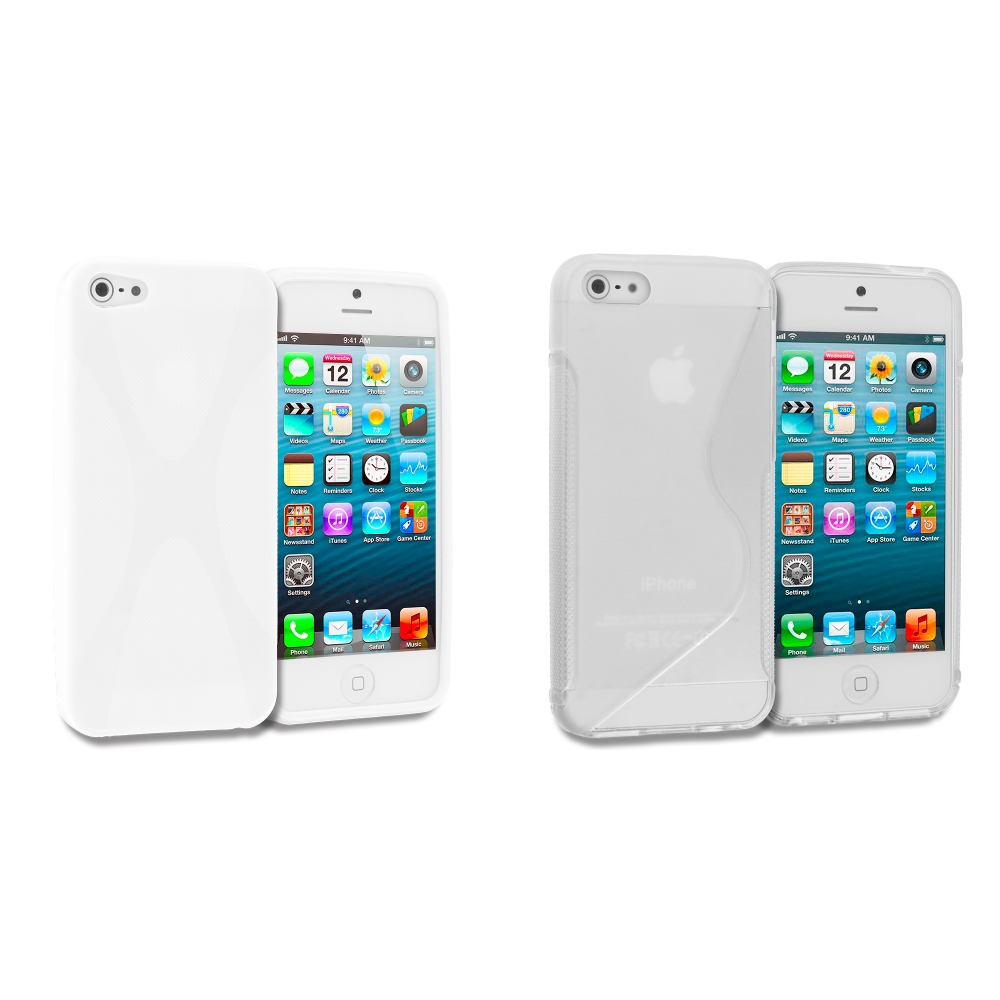 Apple iPhone 5/5S/SE 2 in 1 Combo Bundle Pack - White Clear X-Line TPU Rubber Skin Case Cover