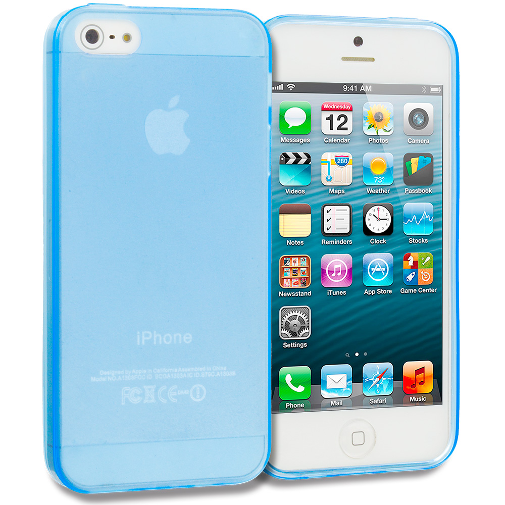 Apple iPhone 5/5S/SE Baby Blue Plain TPU Rubber Skin Case Cover
