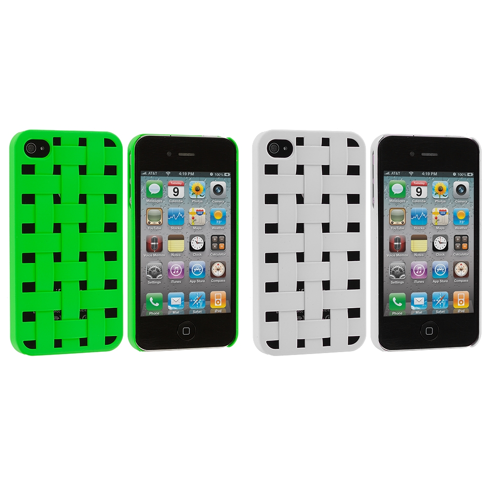 Apple iPhone 4 / 4S 2 in 1 Combo Bundle Pack - Green White Weave Hard Rubberized Back Cover Case