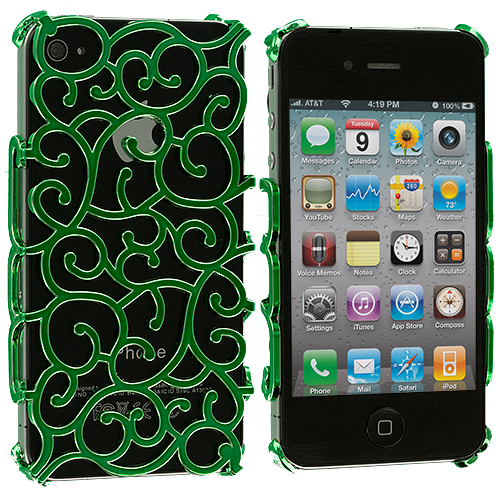 Apple iPhone 4 / 4S Green Floral Crystal Hard Back Cover Case