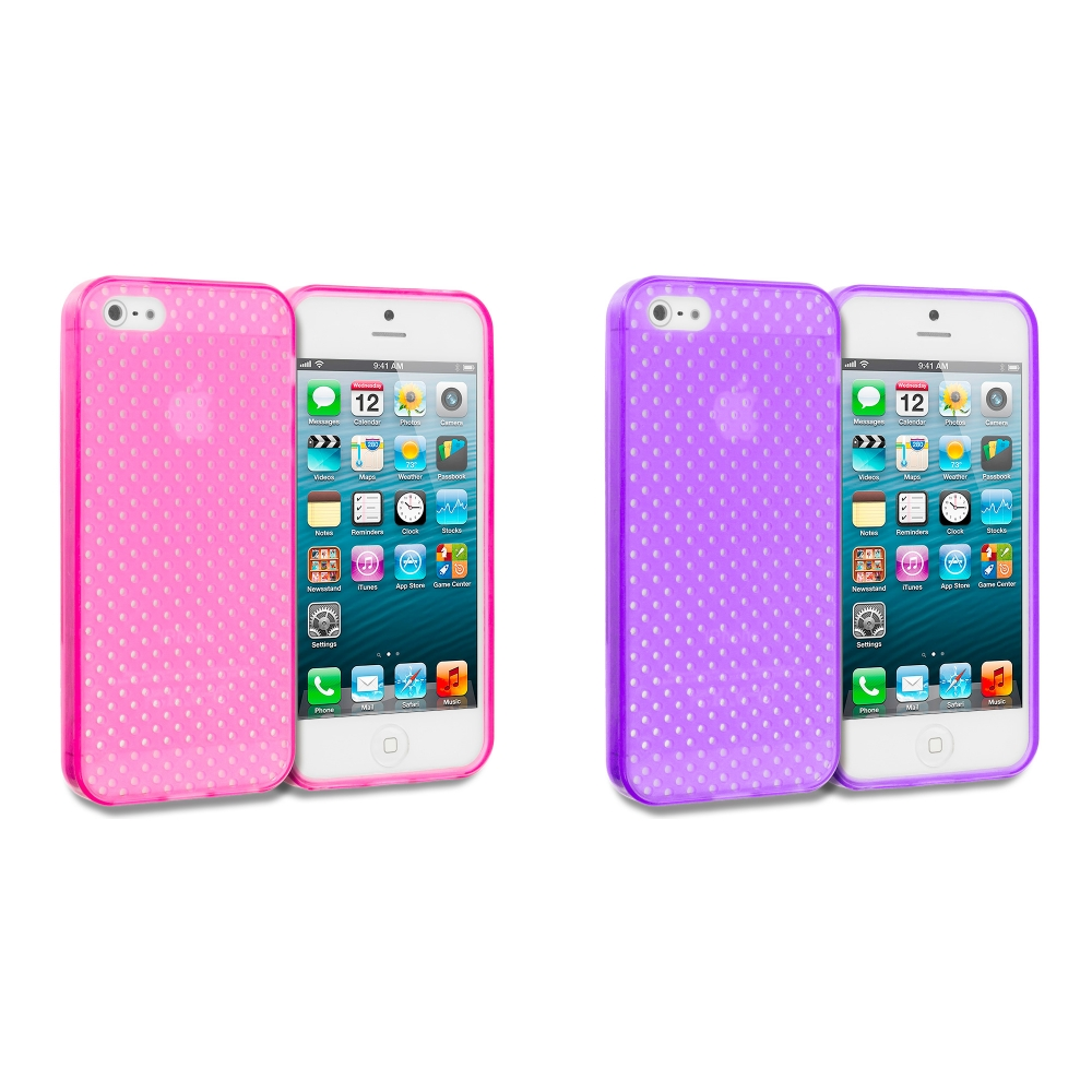 Apple iPhone 5/5S/SE Combo Pack : Hot Pink Mesh TPU Rubber Skin Case Cover