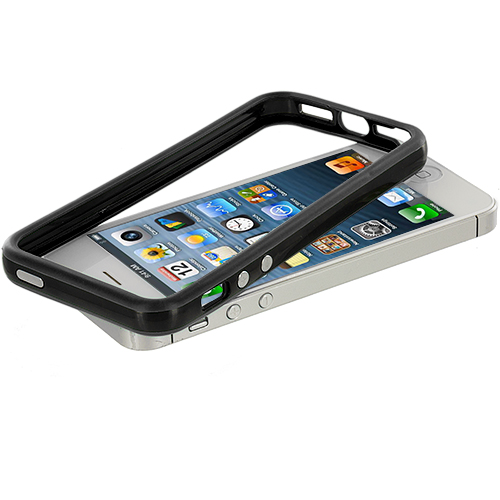Apple iPhone 5/5S/SE Black / Black TPU Bumper with Metal Buttons