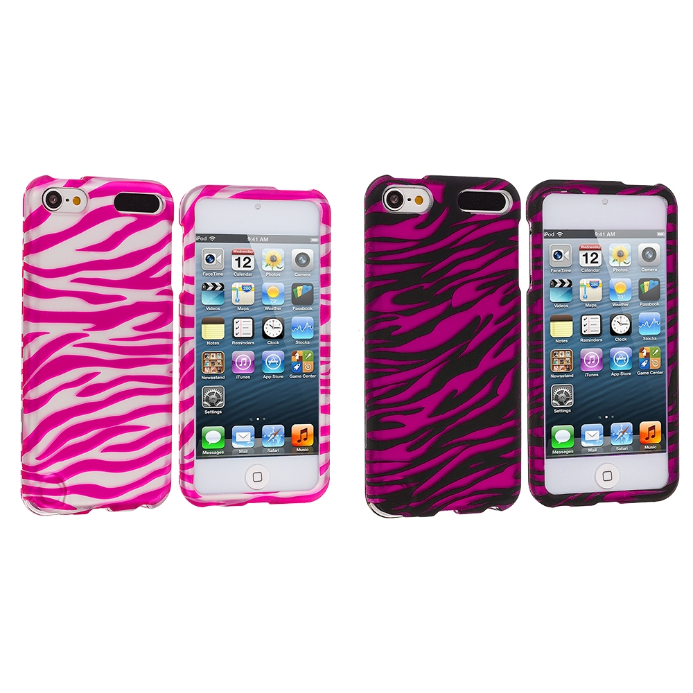 Apple iPod Touch 5th 6th Generation 2 in 1 Combo Bundle Pack - Pink / Hot Pink Zebra Hard Rubberized Design Case Cover