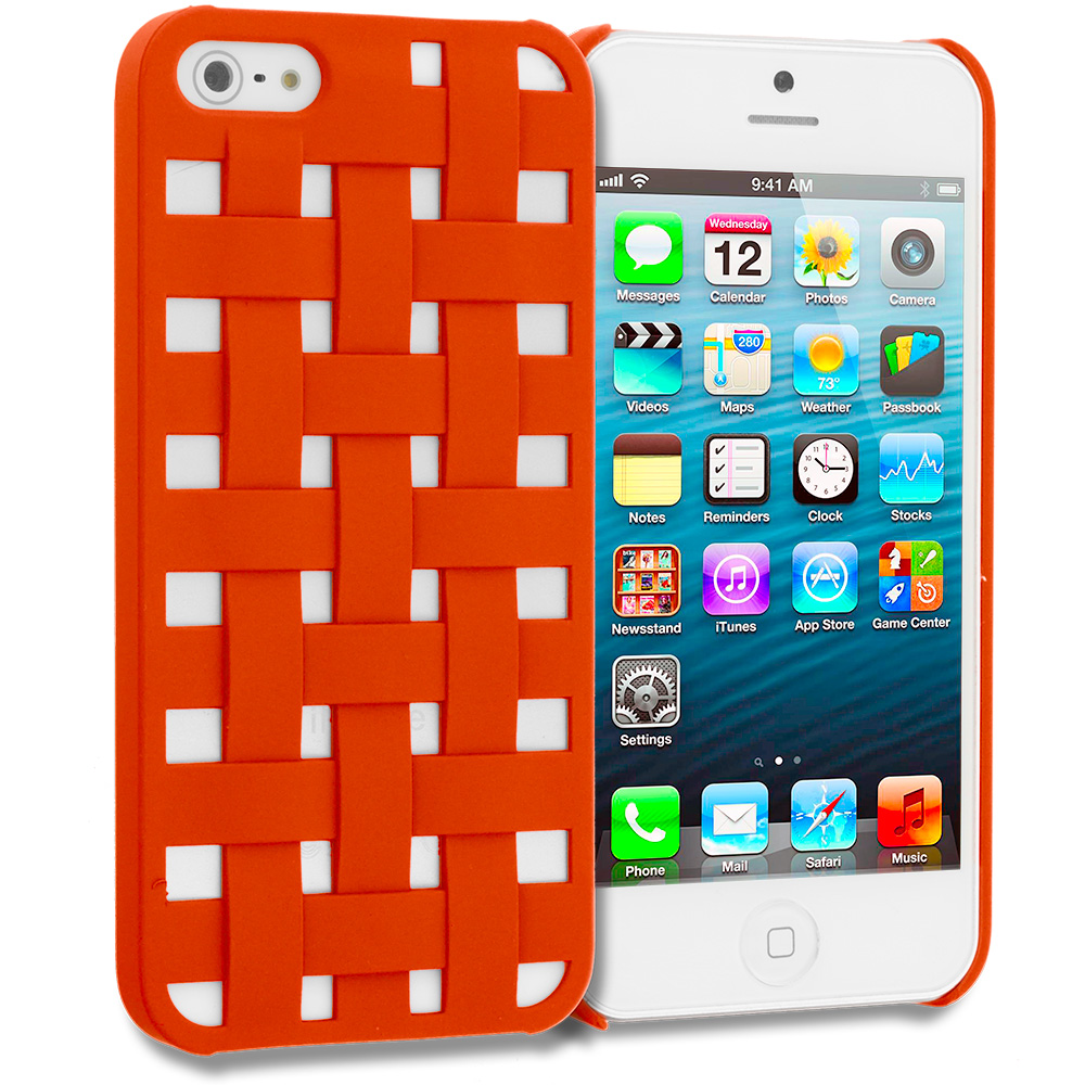Apple iPhone 5/5S/SE Combo Pack : Blue Handwoven Hard Rubberized Back Cover Case : Color Orange Handwoven
