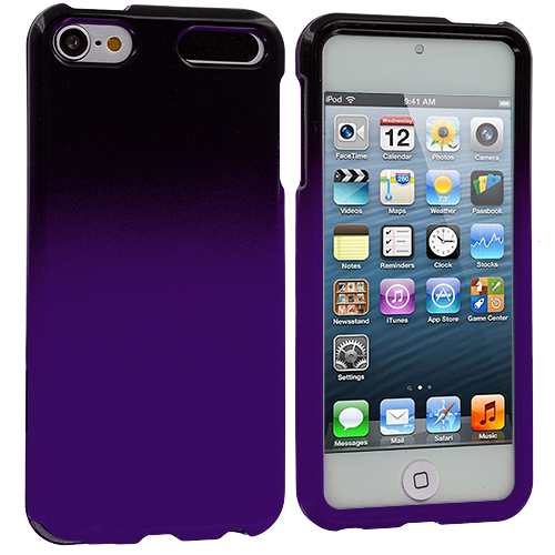 Apple iPod Touch 5th 6th Generation Black / Purple Two-Tone Hard Case Cover
