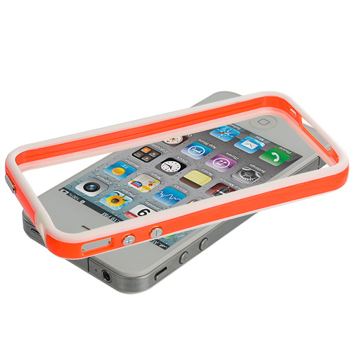 Apple iPhone 4 / 4S White / Orange TPU Bumper with Metal Buttons