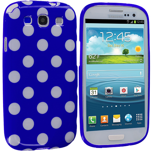Samsung Galaxy S3 Turquiose Blue / White TPU Polka Dot Skin Case Cover