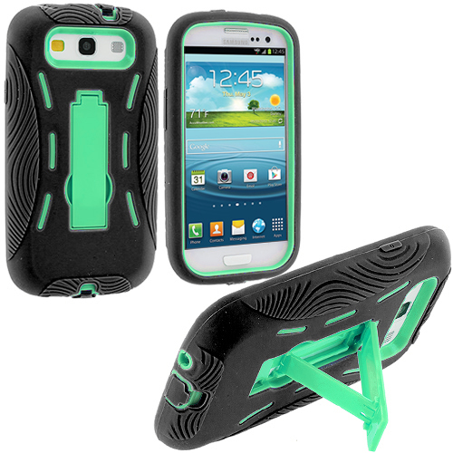 Samsung Galaxy S3 Black / Mint Green Hybrid Heavy Duty Hard/Soft Case Cover with Stand