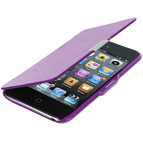 Apple iPod Touch 4th Generation Purple Texture Magnetic Wallet Case Cover Pouch