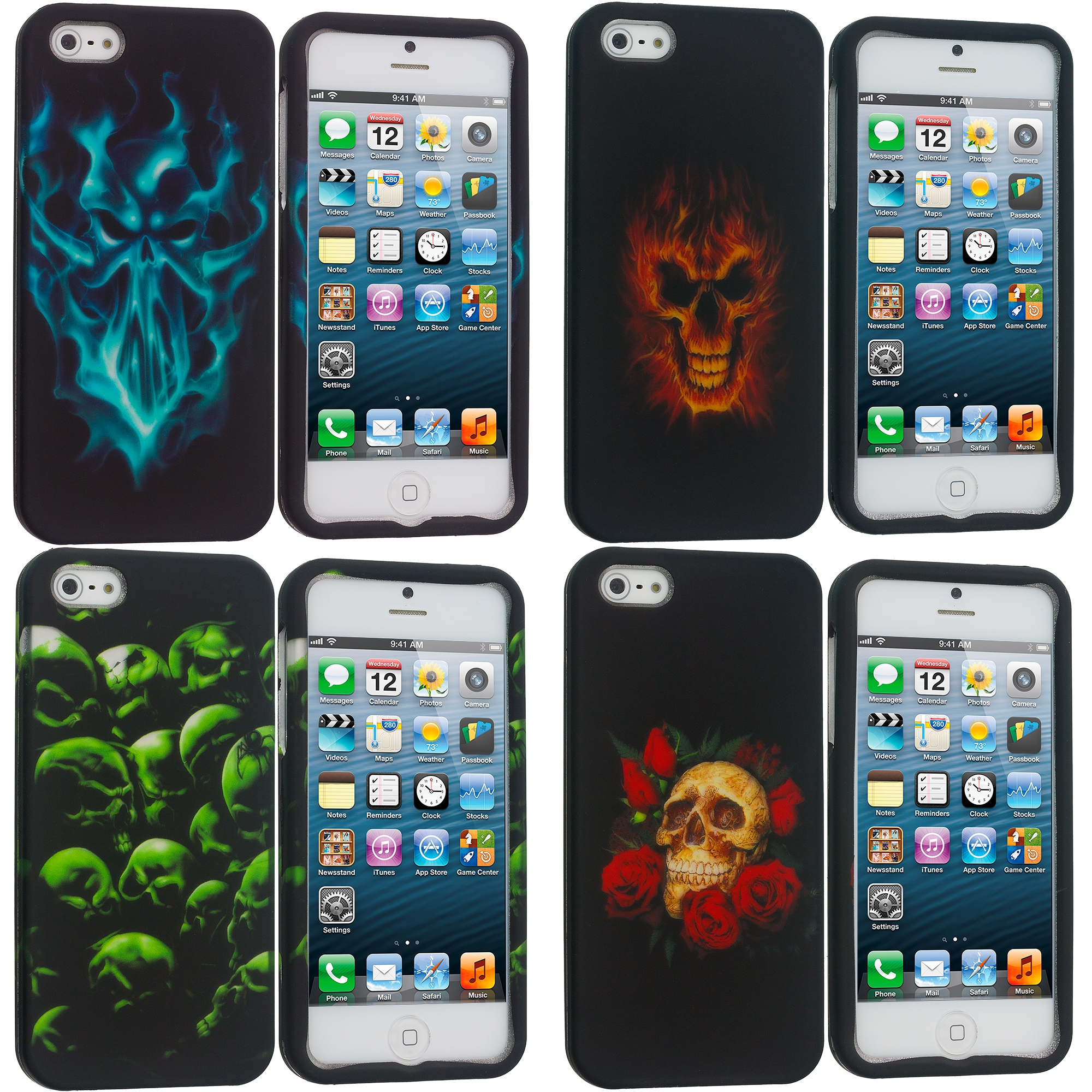 Apple iPhone 5/5S/SE 4 in 1 Combo Bundle Pack - Skulls Hard Rubberized Design Case Cover