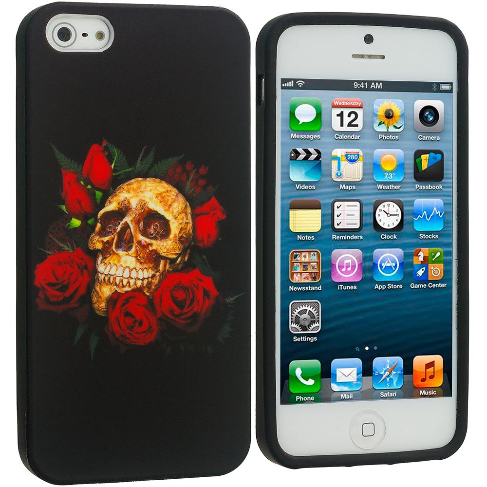 Apple iPhone 5/5S/SE Rose Skull TPU Design Soft Case Cover