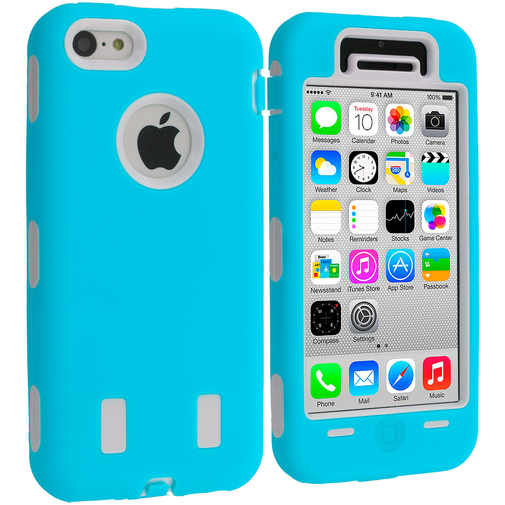 Apple iPhone 5C 2 in 1 Combo Bundle Pack - Blue / White Hybrid Deluxe Hard/Soft Case Cover : Color Baby Blue / White