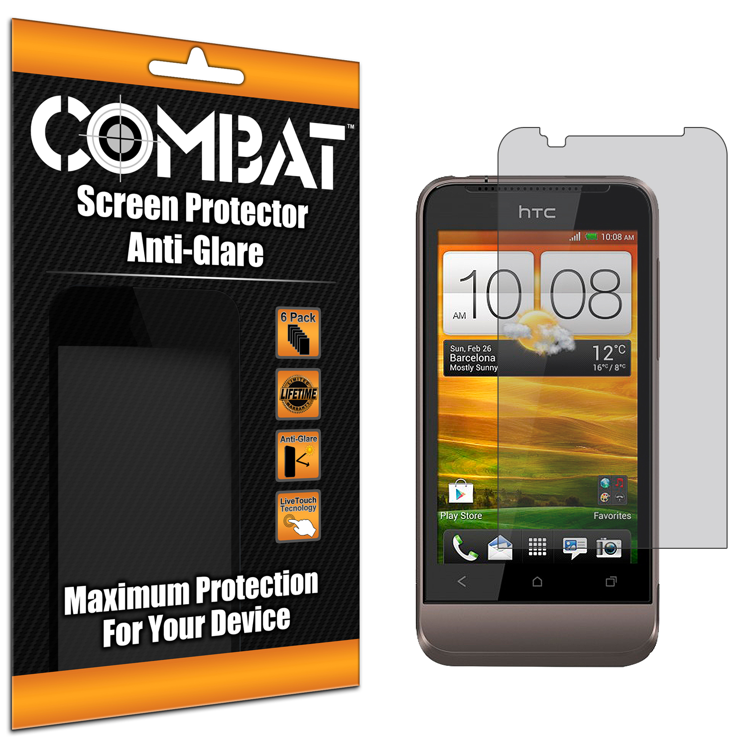 HTC One V Combat 6 Pack Anti-Glare Matte Screen Protector