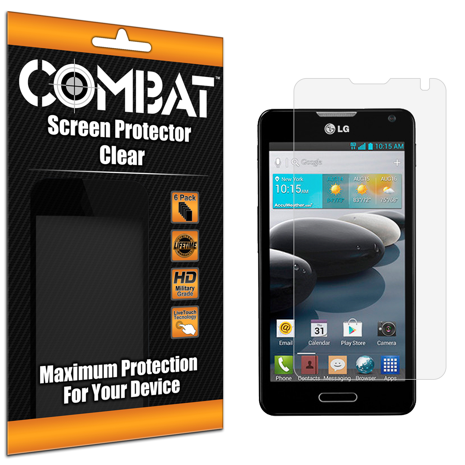 LG Optimus F6 D500 Combat 6 Pack HD Clear Screen Protector